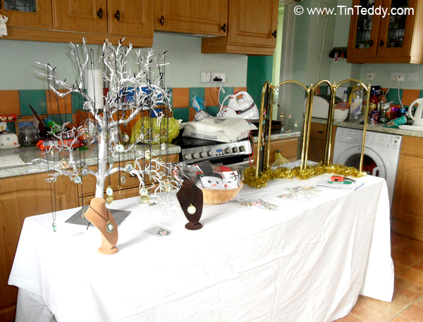 Setting up a stall dress rehearsal in the kitchen
