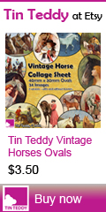 Tin Teddy Vintage Horse Ovals Collage Sheet