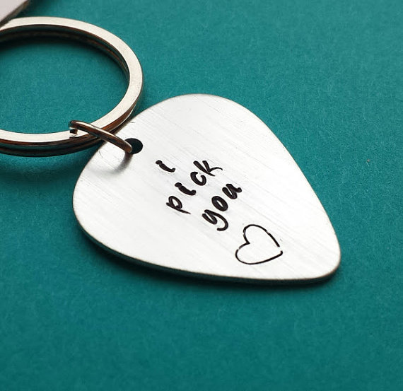 Personalized Guitar Pick Keychain by PersonalBlessings