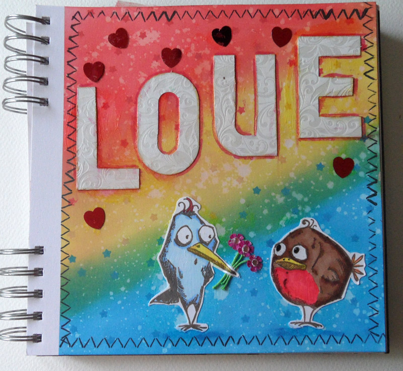 Love Birds mixed media journal page with Distress Oxide Ink background - tutorial