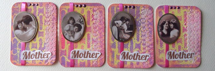 Mother's Day Artist Trading Cards – ATCs using a Gel Plate – Mixed Media Monthly Challenge March