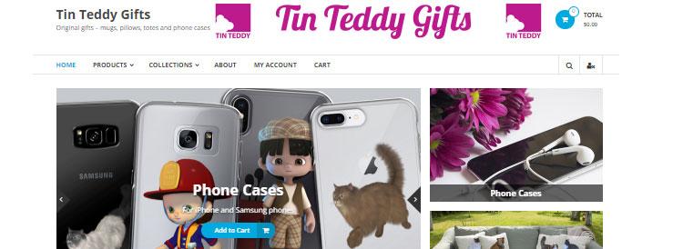 My standalone WordPress shop site, Tin Teddy Gifts