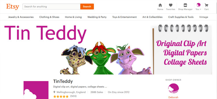 My Tin Teddy graphics shop on Etsy