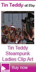 Tin Teddy Steampunk Ladies Clip Art and Toppers